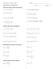 Kuta Software Infinite Algebra 2 Arithmetic Sequences Answer Key A